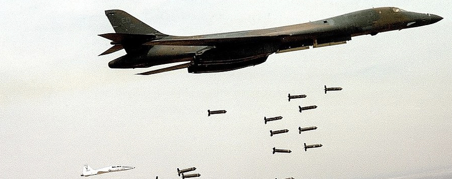 A B-1B Lancer unleashes cluster munitions [USAF]