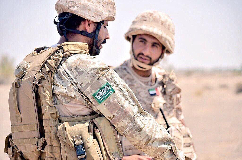 Saudi Arabian soldier from the First Airborne Brigade with a UAE soldier, 2016 [Saudi88hawk-Wikipedia]