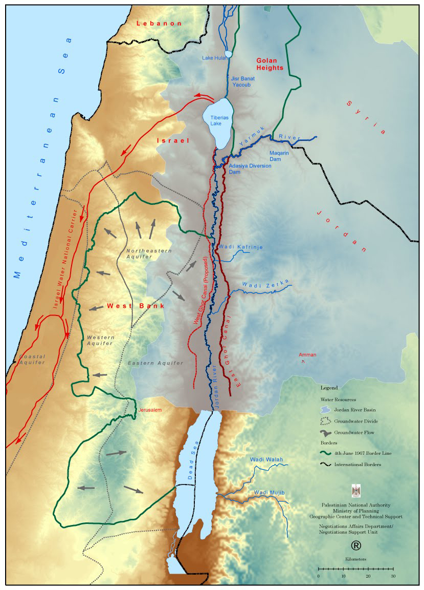 Map of the Jordan River Basin [Palestinian Authority]