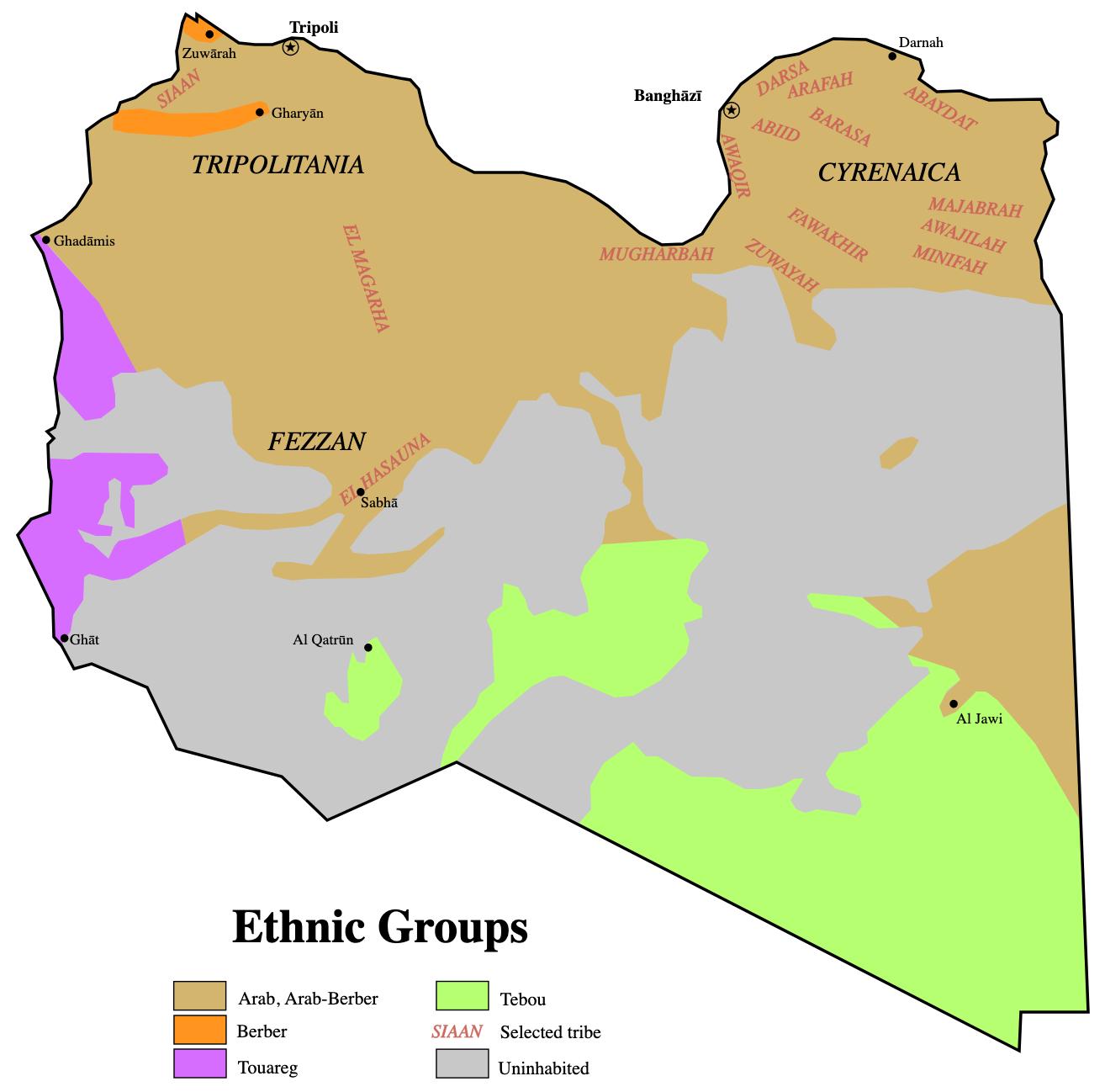 Distribución geográfica de etnias en Libia [Wikipedia]