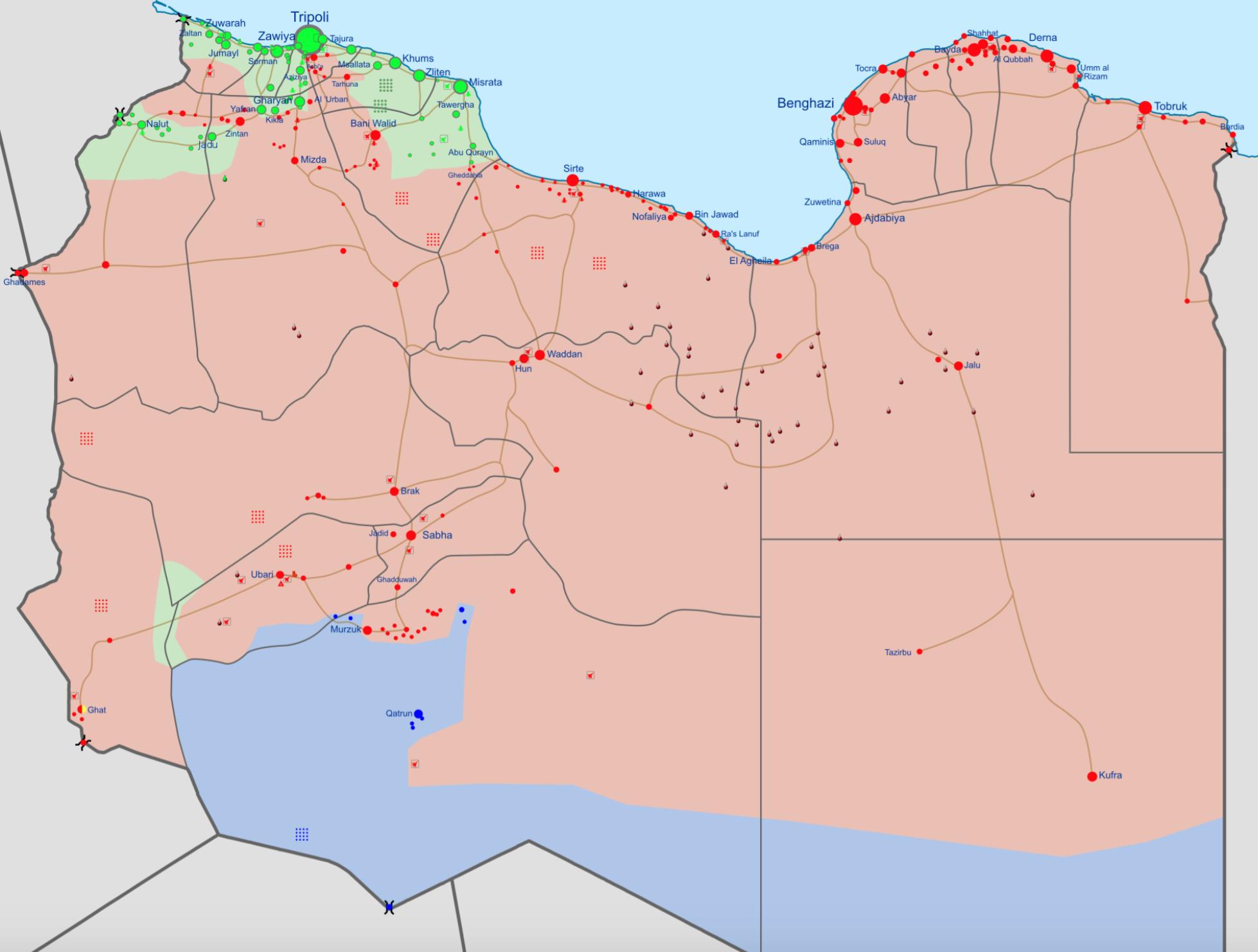 Correlación de fuerzas en la guerra civil libia, en febrero de 2016 [Wikipedia]