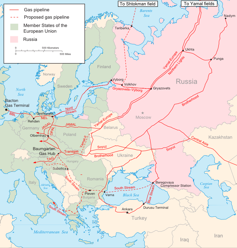 The main Russian gas pipelines to Eastern and Central Europe [Samuel Bailey/CC]