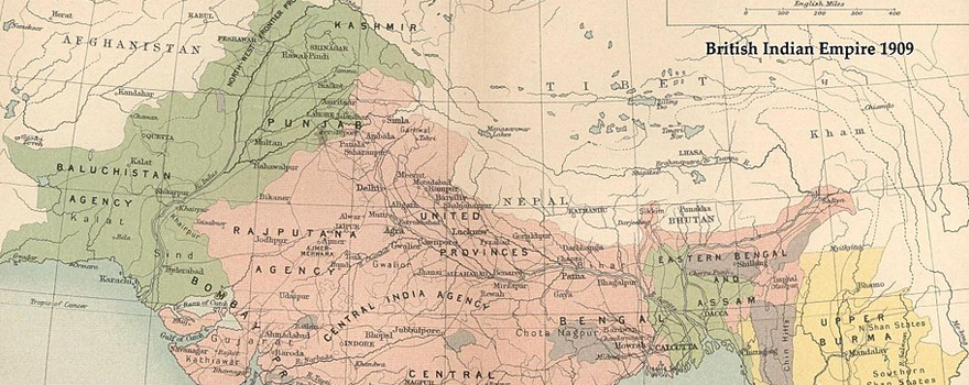 The British Raj in 1909 showing Muslim majority areas in green