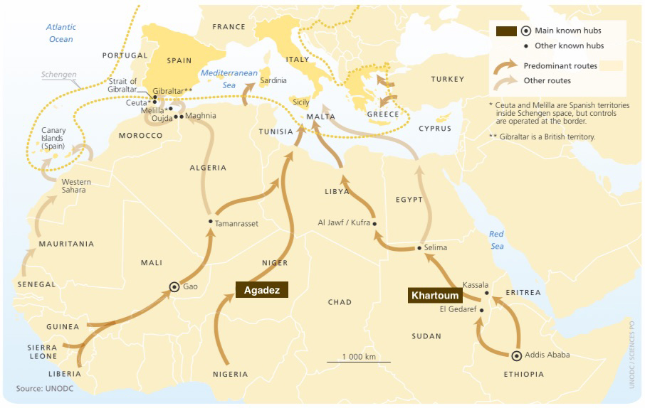 Main routes for African irregular migrants [UNODC, before Sudan's split]