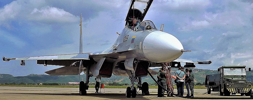 A Russian Sukhoi Su-30MK2 bought by Venezuela, in Barquisimeto in 2016 [Carlos E. Pérez]