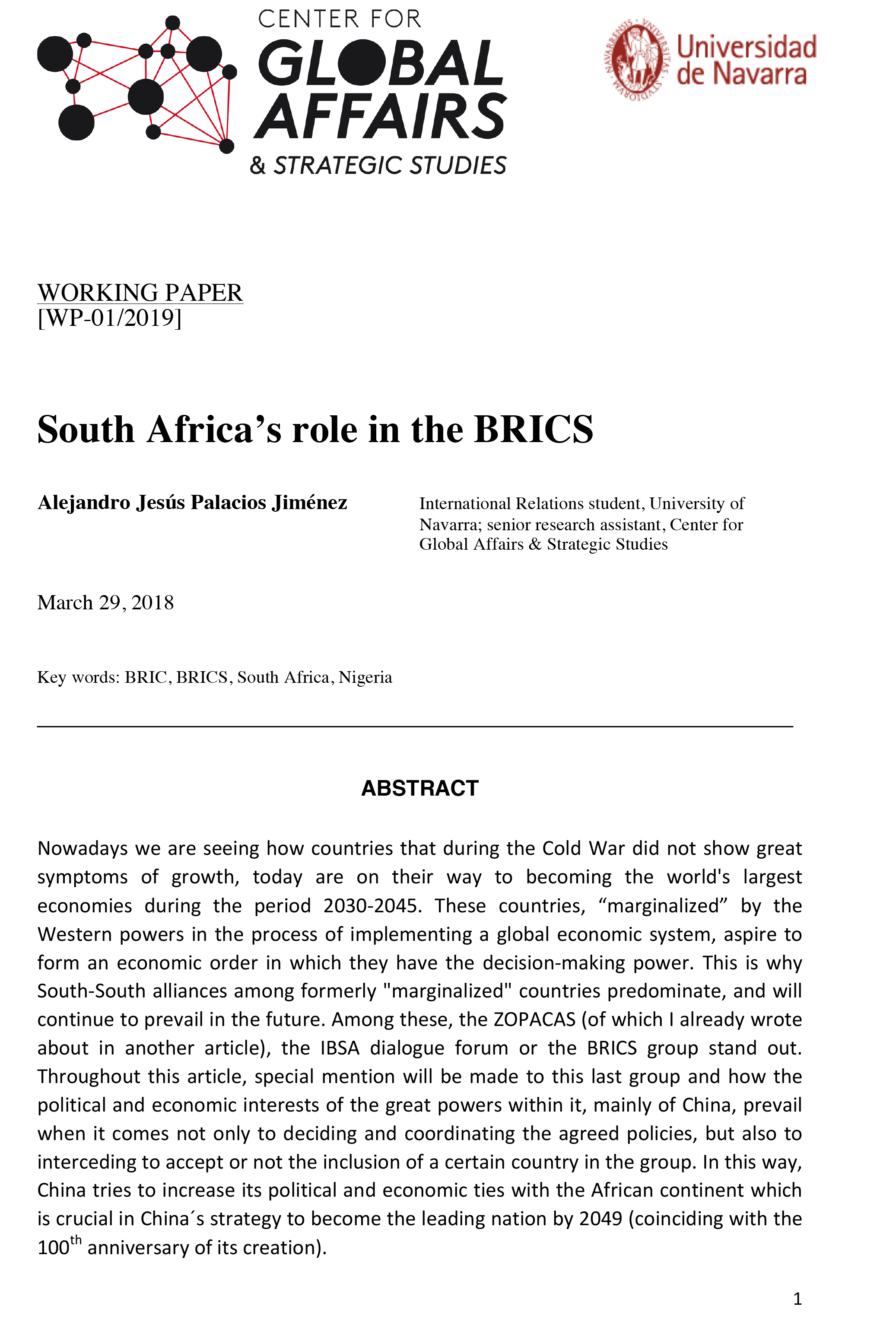 South Africa's role in the BRICS