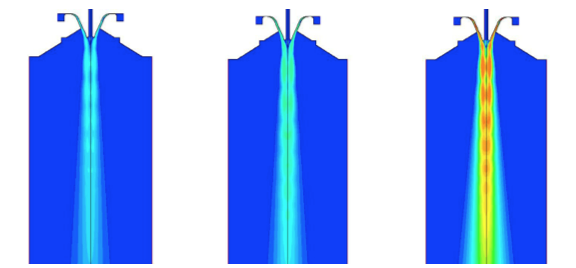 Velocity fields for different gases and equal atomization pressure