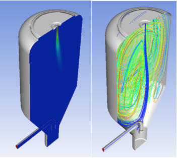 Velocity contour plot (left) and streamlines (right).