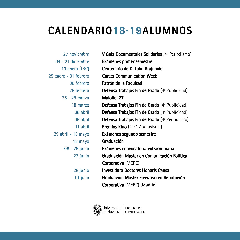 Calendario 2020 Marzo Abril.Calendario Alumnos Facultad De Comunicacion Universidad