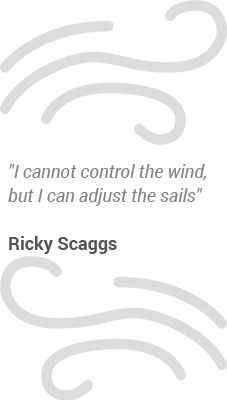 """I cannot control the wind, but I can adjust the sails""  Ricky Scaggs"